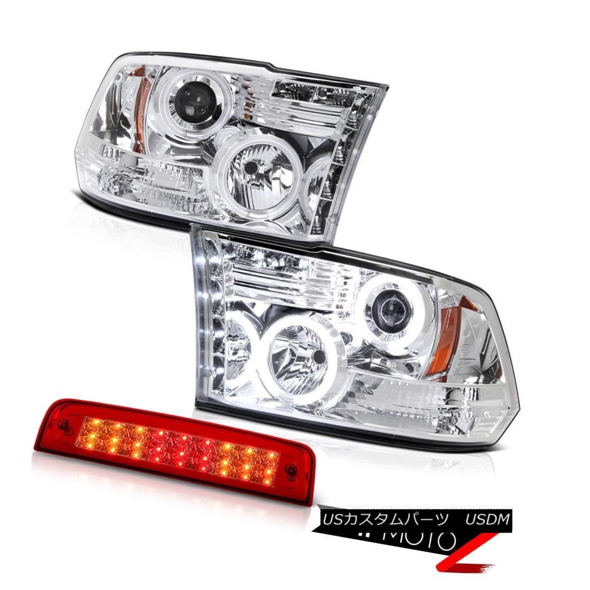 テールライト 09-18 Ram 1500 6.7L Wine Red 3RD Brake Lamp Euro Clear Headlamps LED CCFL Ring 09-18ラム1500 6.7Lワインレッド3RDブレーキランプユーロクリアヘッドランプLED CCFLリング
