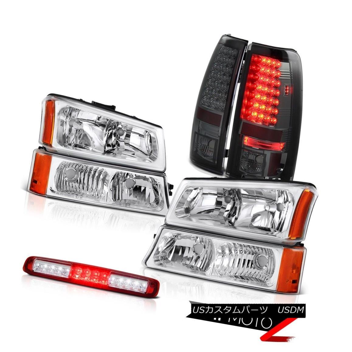 テールライト 03 04 05 06 Chevy Silverado Euro Chrome Headlamps Red Third Brake Lamp Taillamps 03 04 05 06 Chevy Silveradoユーロクロームヘッドランプレッド第3ブレーキランプタイルランプ