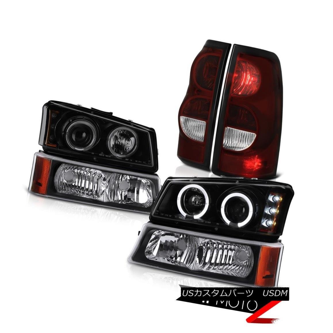 テールライト 2003-2006 Silverado Smokey Red Rear Brake Lamps Black Parking Lamp Headlights 2003-2006シルバラードスモーキーレッドリアブレーキランプブラックパーキングランプヘッドライト