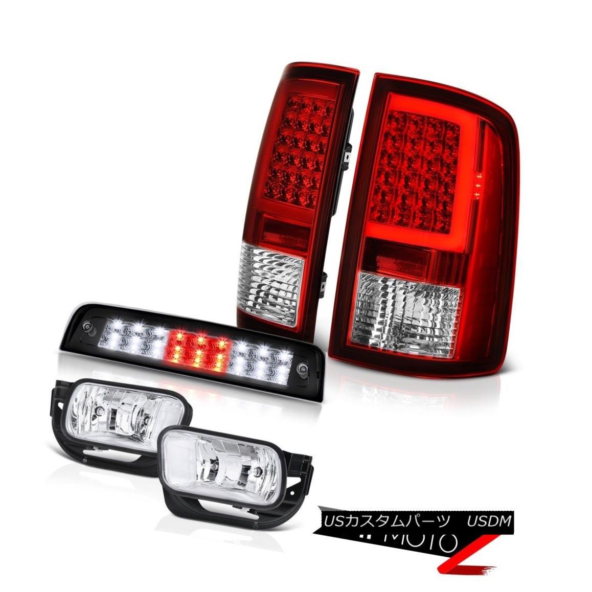 テールライト 09-16 17 18 Dodge RAM 3500 Third Brake Lights Red Tail Lamps Chrome Fog SET PAIR 09-16 17 18ダッジRAM 3500第3ブレーキライトレッドテールランプクロームフォグSET PAIR