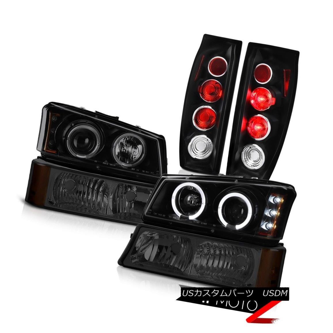 テールライト 03-06 Chevy Avalanche Matte Black Taillights Dark Smoke Bumper Light Headlights 03-06シボレーアバランシェマットブラックティアライツダークスモークバンパーライトヘッドライト