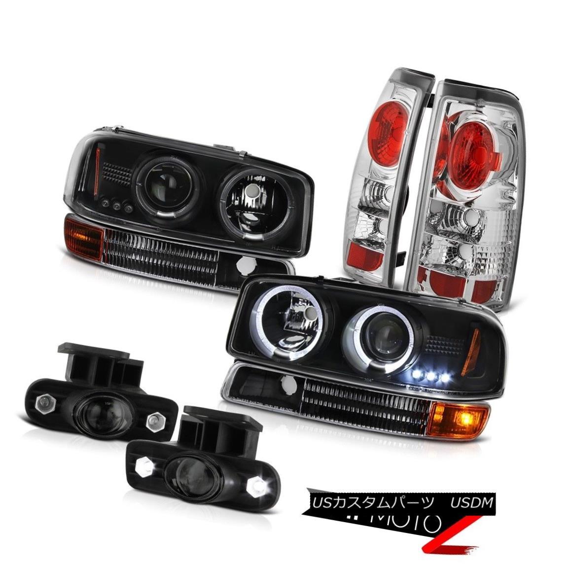 テールライト 1999-2003 Sierra SL Black Angel Eye Headlights Brake Lamps Projector Tinted Fog 1999-2003シエラSLブラックエンジェルアイヘッドライトブレーキランププロジェクター着色霧
