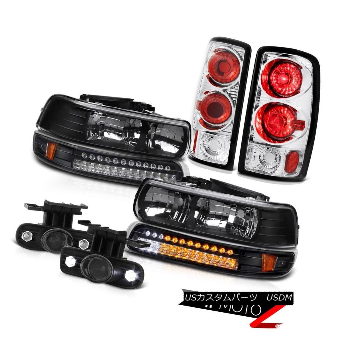 テールライト 00-06 Suburban 5.7L Black Headlights Headlamps Rear Taillamp Glass Projector Fog 00-06郊外5.7Lブラックヘッドライトヘッドランプリアテールランプガラスプロジェクターフォグ