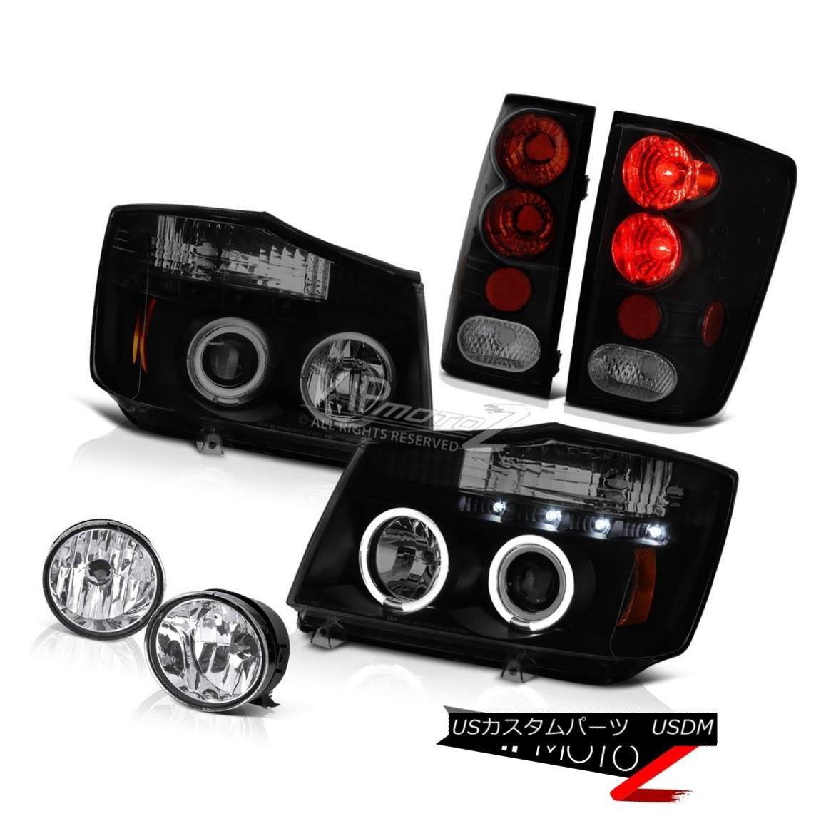 テールライト For 04-15 Titan Pro-4X Headlight Halo LED Dark Smoke Tail Lights Chrome Foglamp 04-15 Titan Pro-4XヘッドライトHalo用LED暗煙テールライトChrome Foglamp
