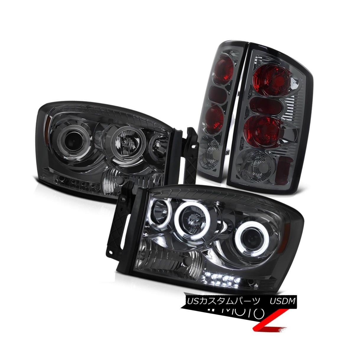 テールライト L+R CCFL Angel Eye Projector Headlight+Smoke LED Tail Light 2006 Dodge RAM 1500 L + R CCFLエンジェルアイプロジェクターヘッドライト+スモーク e LEDテールライト2006 Dodge RAM 1500