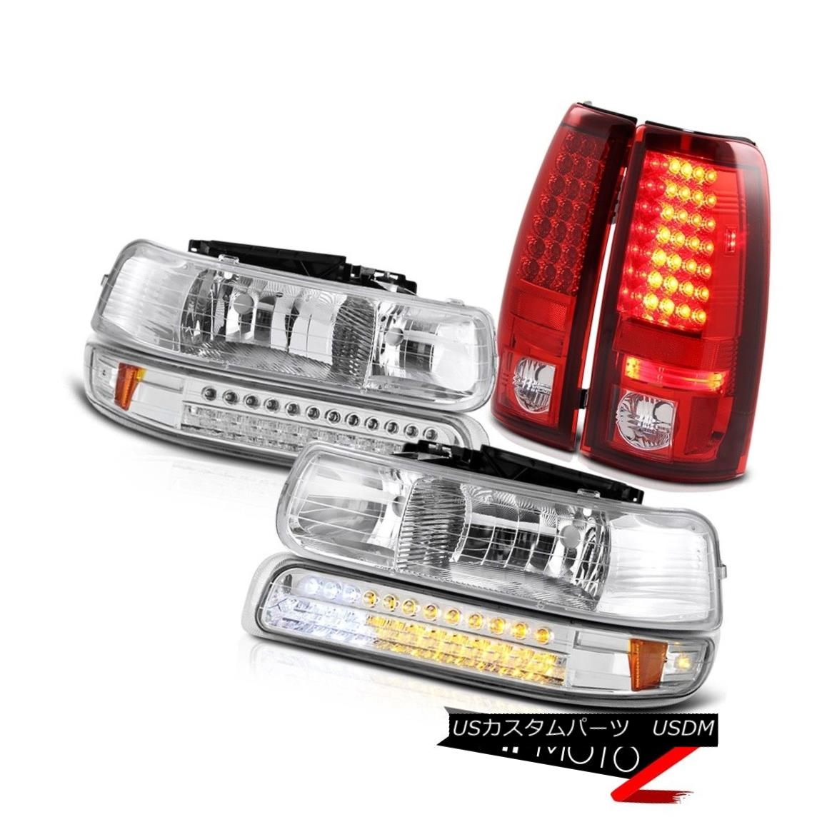 テールライト 99 00 01 02 Silverado 4.3L V8 Front Headlights Signal DRL Red LED Tail Light 99 00 01 02 Silverado 4.3L V8フロントヘッドライト信号DRL赤色LEDテールライト