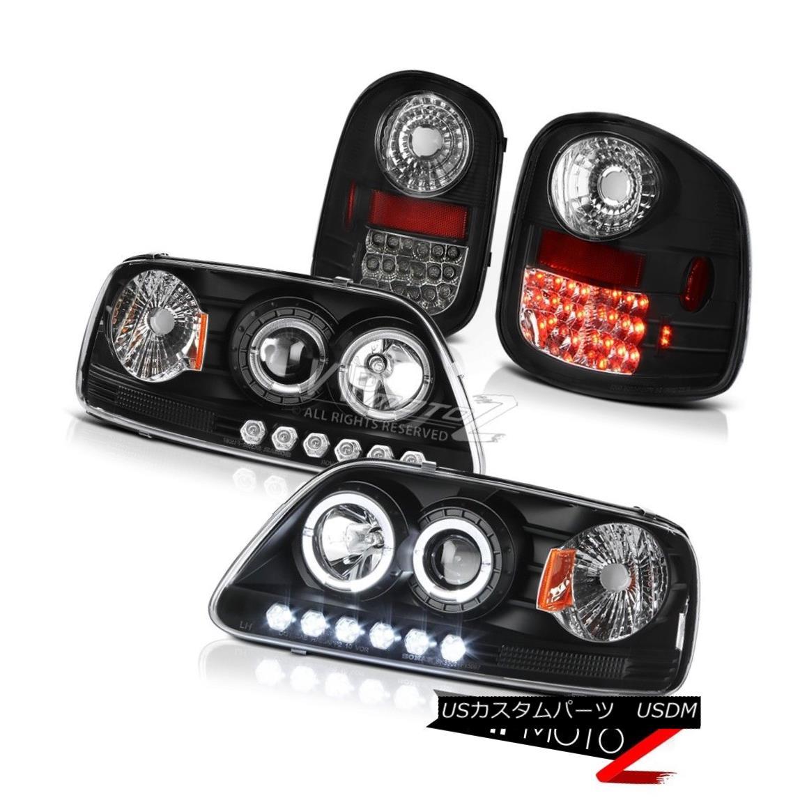 テールライト Black DRL Angel Eye Headlamps LED Brake Tail Light 1997-2003 Ford F150 Flareside ブラックDRLエンジェルアイヘッドランプLEDブレーキテールライト1997-2003 Ford F150 Flareside