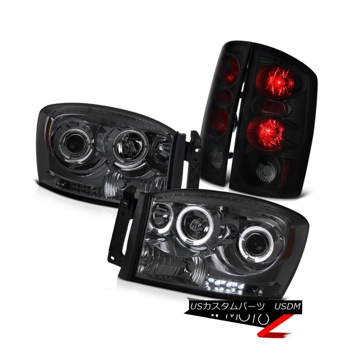 テールライト DODGE Ram 2006 1500 2500 3500 Dark Smoke Headlights Tail Lamp LED DRL Angel Eye DODGE Ram 2006 1500 2500 3500ダークグレーヘッドライトテールランプLED DRL Angel Eye