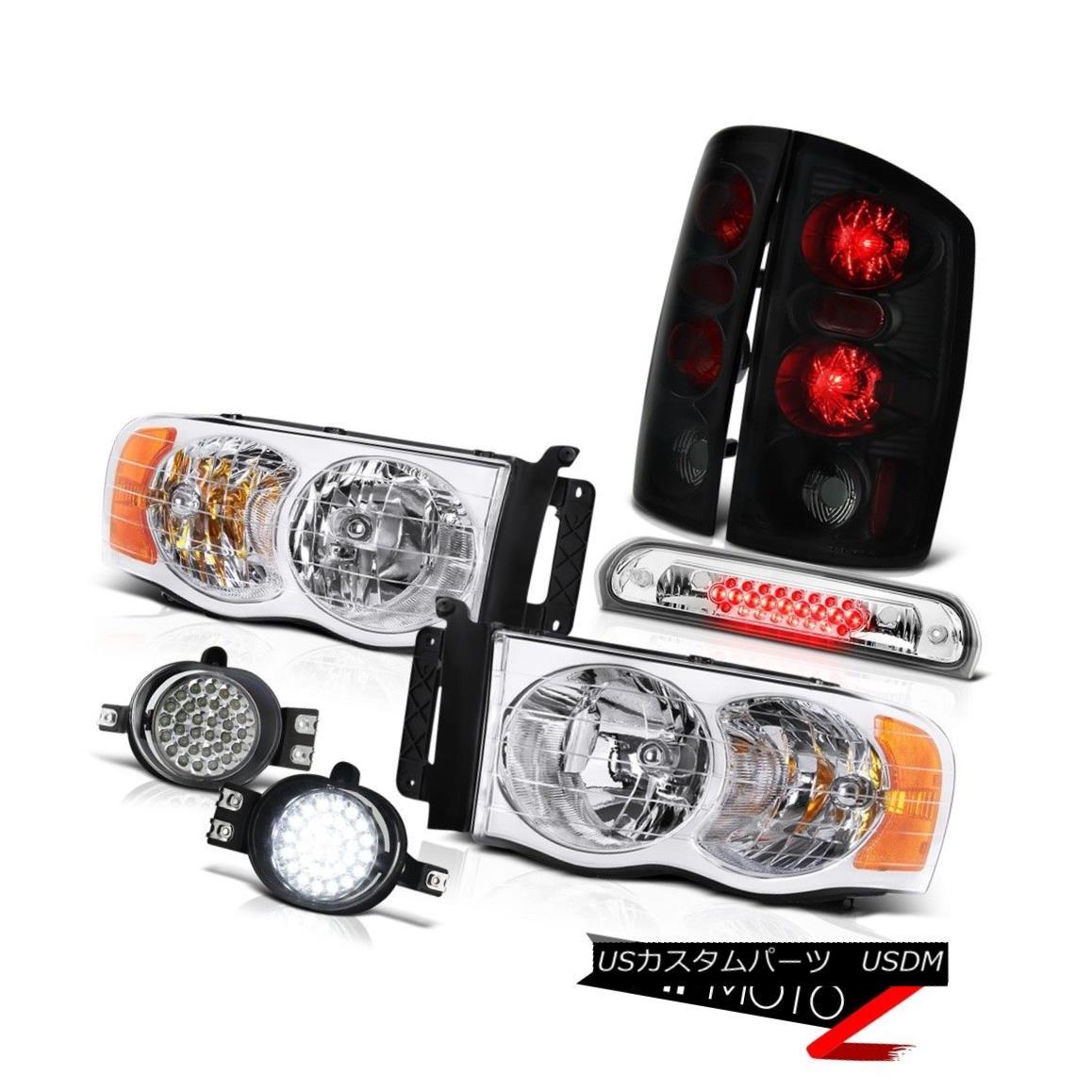 テールライト 2002-2005 Ram V6 Chrome Headlight Dark Smoke Tail Lights LED Fog Roof Stop Clear 2002-2005 Ram V6クロームヘッドライトダークスモークテールライトLEDフォグルーフストップクリア