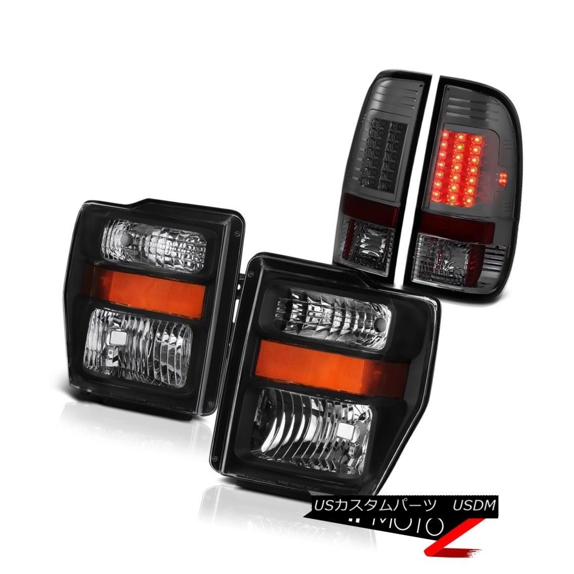 テールライト ULTRA BRIGHT 2008 2009 2010 FORD F250 F350 Black Headlight Smoke LED Tail Lights ULTRA BRIGHT 2008 2009 2010フォードF250 F350ブラックヘッドライトスモークLEDテールライト