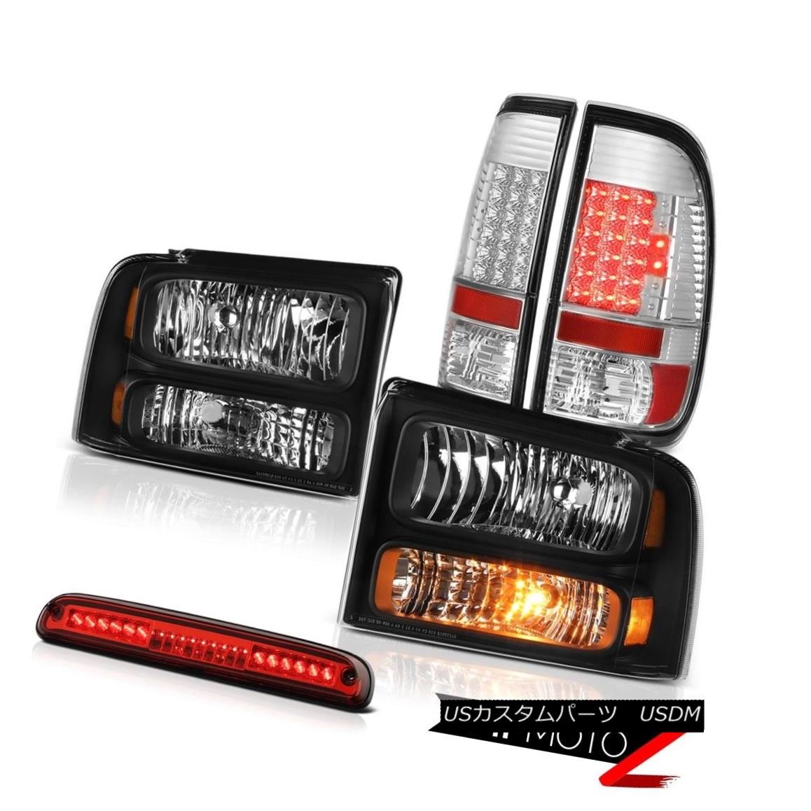 テールライト 05-07 F250 Lariat Black Diamond Headlight SMD Rear Tail Lights 3rd Brake Red LED 05-07 F250リアタットブラックダイヤモンドヘッドライトSMDリアテールライト第3ブレーキ赤色LED