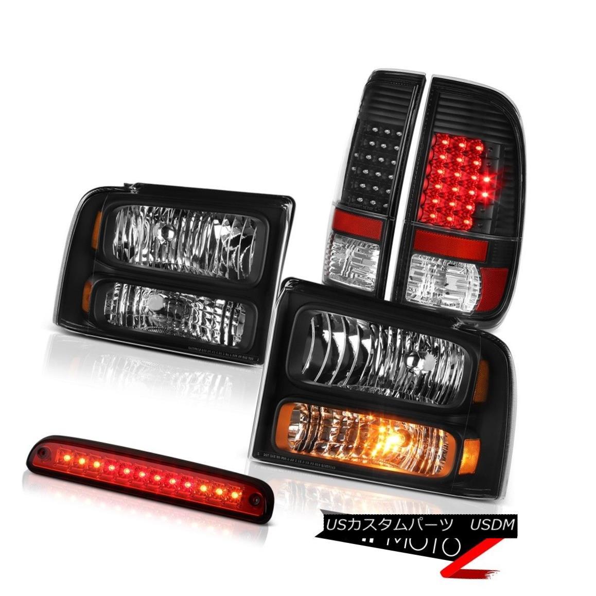 テールライト 2005 2006 2007 F350 XL Satin Black Headlamps Brake Tail Lights High Stop LED Red 2005 2006 2007 F350 XLサテンブラックヘッドランプブレーキテールライトハイストップLEDレッド