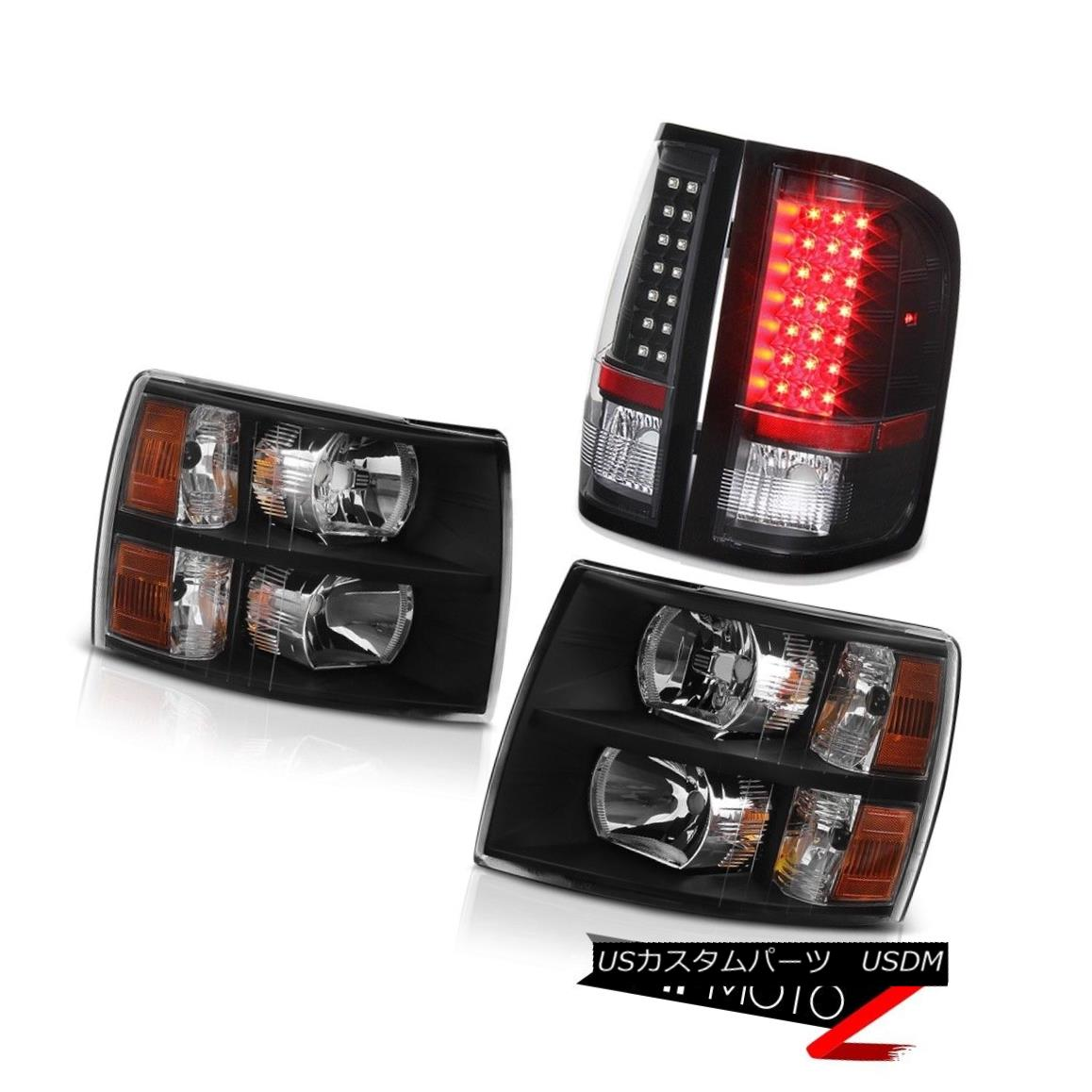 テールライト Chevy 07-14 Silverado Black Hedlamp Amber Corner Signal+LED Taillight Brake Lamp シボレー07-14シルバラードブラックヘッドランプアンバーコーナー信号+ LEDテールライトブレーキランプ