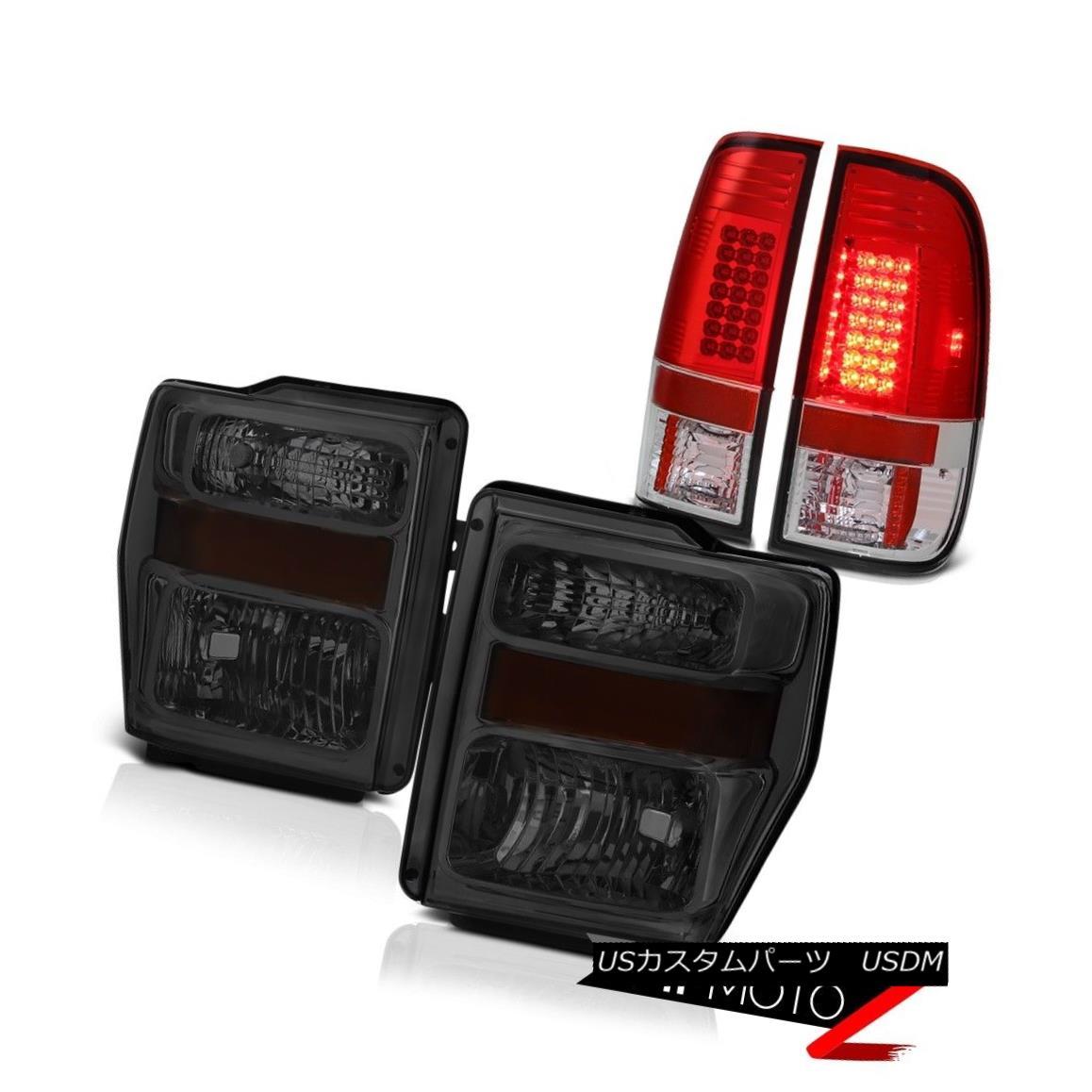 テールライト FORD 08-10 F250 F350 SD Red LED Brake Tail Lamp Front Smoke Headlights Headlamps フォード08-10 F250 F350 SDレッドLEDブレーキテールランプフロントスモークヘッドライトヘッドランプ