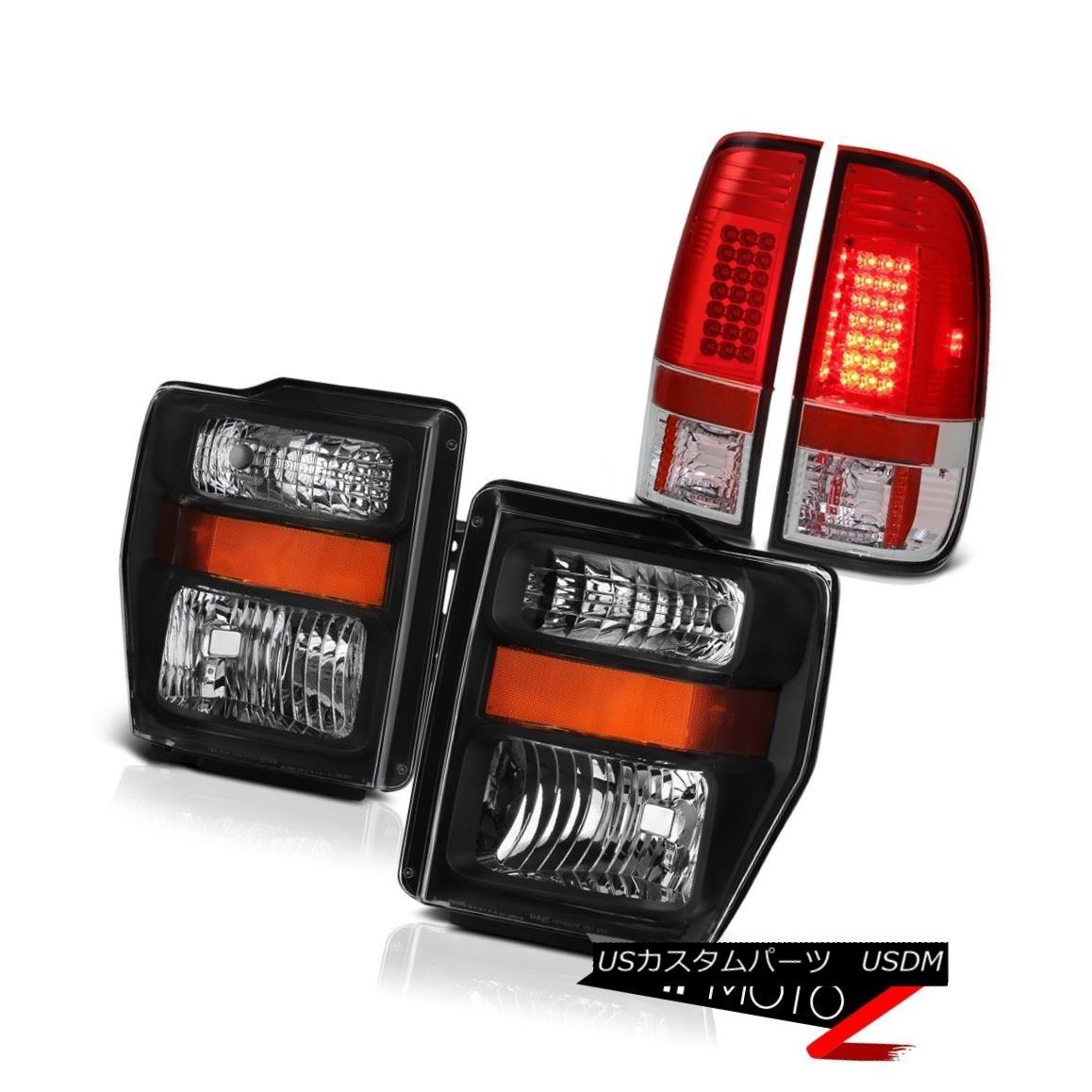 テールライト Factory Style Black Amber Headlight Red Rear LED Tail Lights 2008-2010 F250 F350 工場スタイルブラックアンバーヘッドライトレッドリアテールライト2008-2010 F250 F350