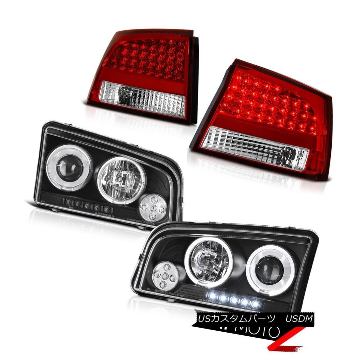 テールライト 06-08 Charger SE Dual Halo Rim Angel Eye Projector Headlight Red LED Tail Lights 06-08充電器SEデュアルハローリムエンジェルアイプロジェクターヘッドライトレッドLEDテールライト