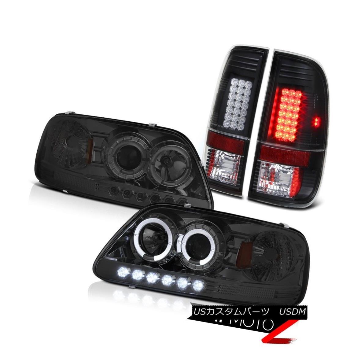 テールライト Twin Halo Ring Projector LED Headlamps 1997 1998 F150 SVT SMD Brake Tail Lights ツインHaloリングプロジェクターLEDヘッドランプ1997 1998 F150 SVT SMDブレーキテールライト