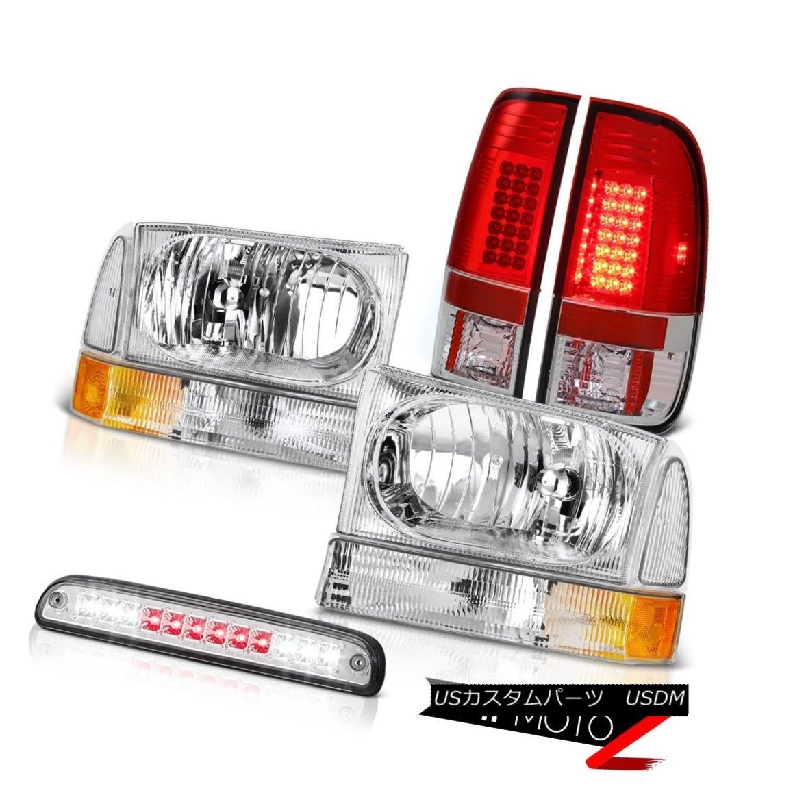 テールライト Factory Style HeadLights Roof Stop LED Chrome Red Tail Lamps 99-04 F350 7.3L 工場スタイルヘッドライトルーフストップLEDクロームレッドテールランプ99-04 F350 7.3L