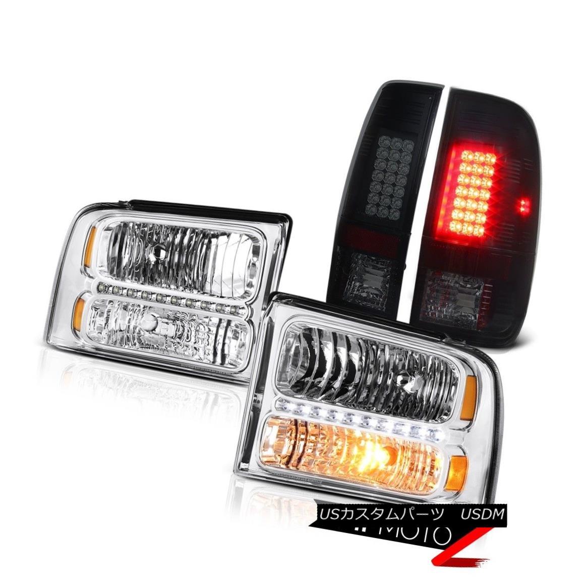 テールライト Pair New Headlights Smoke LED Brake Lamps 2005 2006 2007 Ford F350 Turbo Diesel ペア新しいヘッドライト煙LEDブレーキランプ2005 2006 2007フォードF350ターボディーゼル