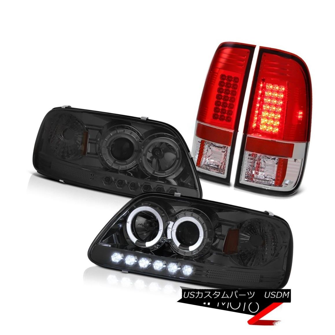 テールライト Ford F150 97-03 Smoke LED Halo Headlights Bright L.E.D Rear Signal Tail Lights Ford F150 97-03 Smoke LED HaloヘッドライトBright L.E.Dリアシグナルテールライト