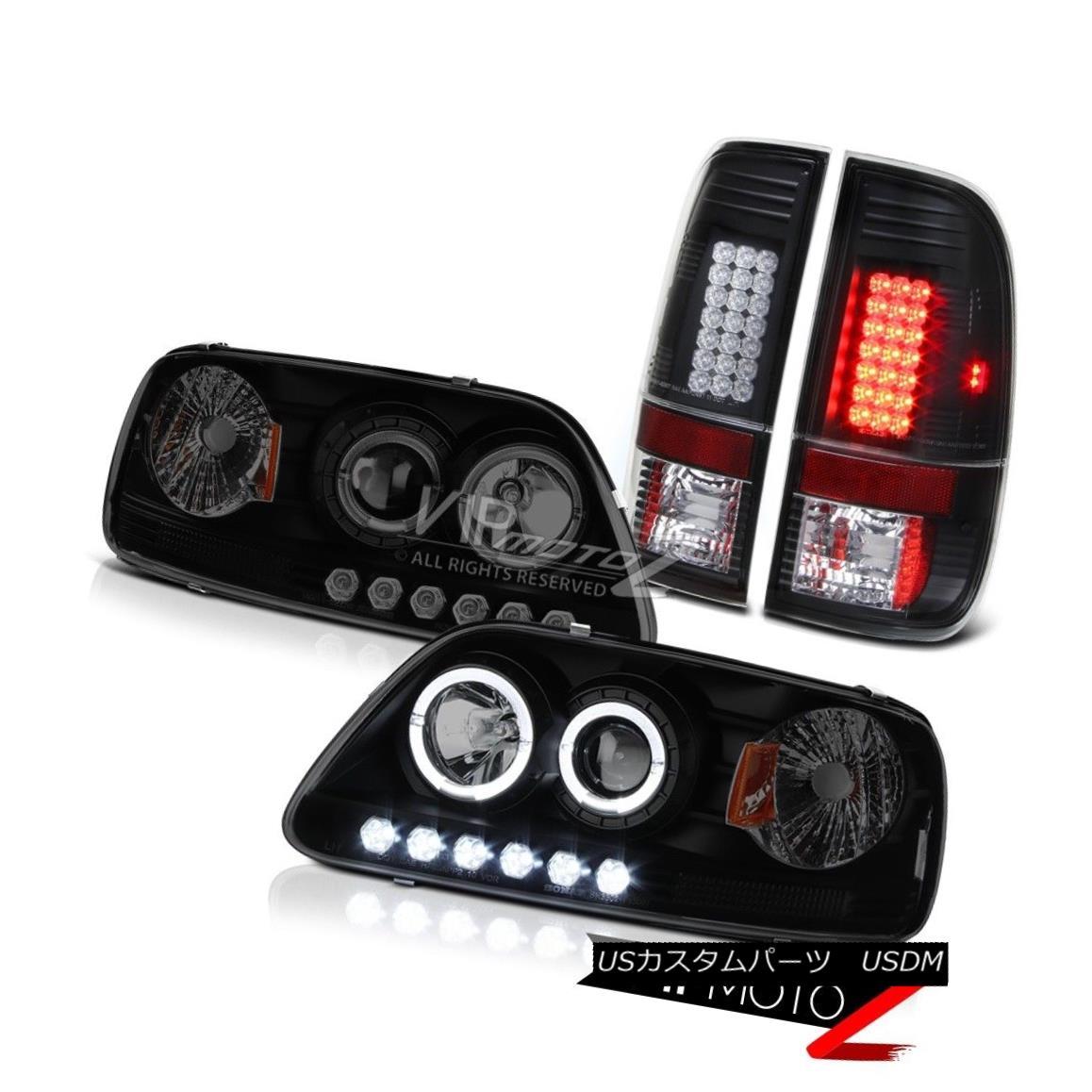 テールライト Darkest Black Halo LED Bulbs Headlights 1997 1998 Ford F150 Tail Lights Assembly 最も暗いブラックハローLED電球ヘッドライト1997年1998年フォードF150テールライトアセンブリ