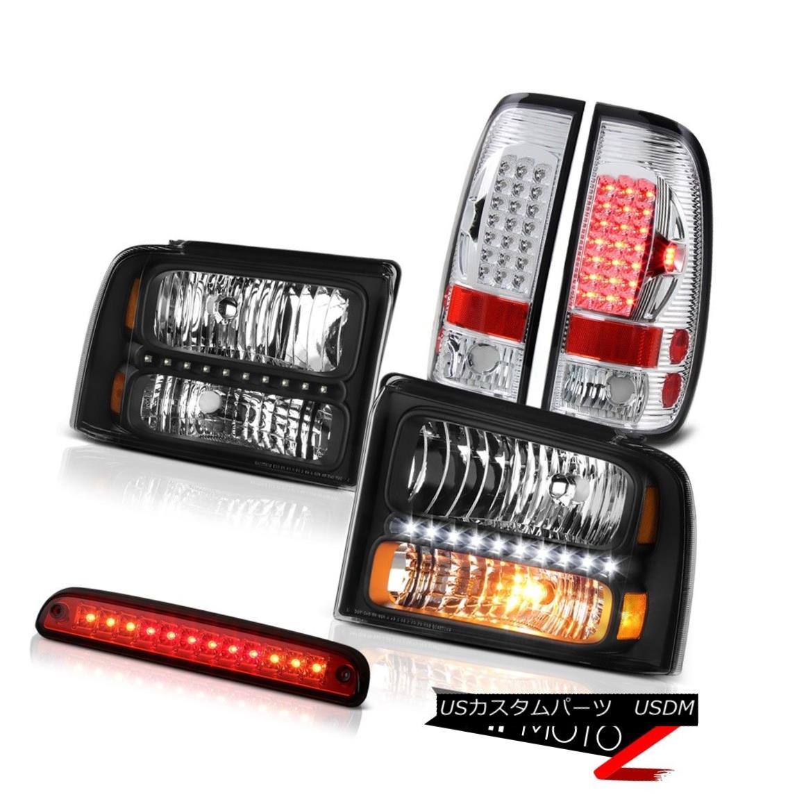 テールライト 05-07 F350 5.4L Clear/Black Headlights BRIGHTEST LED Tail Lights Roof Stop Red 05-07 F350 5.4Lクリア/ブラックヘッドライトBRIGHTEST LEDテールライトルーフストップレッド