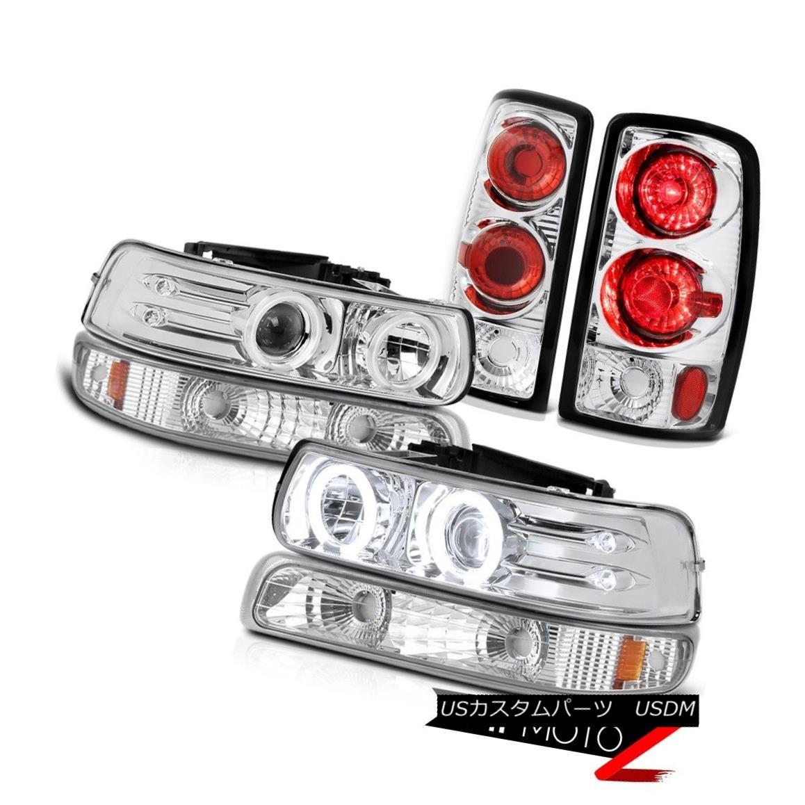 テールライト [BRIGHTEST] Angel Eye Headlights Euro Signal Chrome Brake Lamp 00-06 Suburban LT [明るい]天使の目のヘッドライトユーロ信号クロームブレーキランプ00-06郊外LT