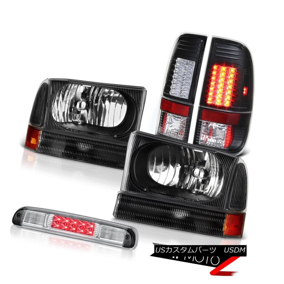テールライト Jet Black Headlights LED Tail Lights Euro Third Brake 99 00 01 02 03 04 F350 XL ジェットブラックヘッドライトLEDテールライトユーロ第3ブレーキ99 00 01 02 03 04 F350 XL