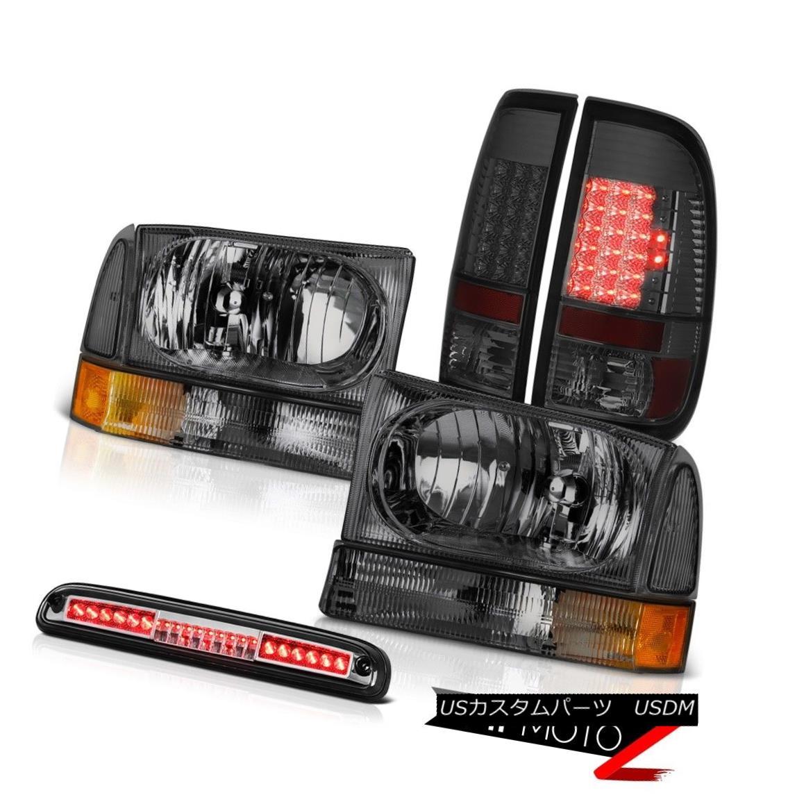 テールライト 99-04 Ford F350 SD Crystal Headlamps L.E.D Taillights Smoke Chrome 3rd Brake LED 99-04フォードF350 SDクリスタルヘッドランプL.E.Dテールライトスモーククローム第3ブレーキLED