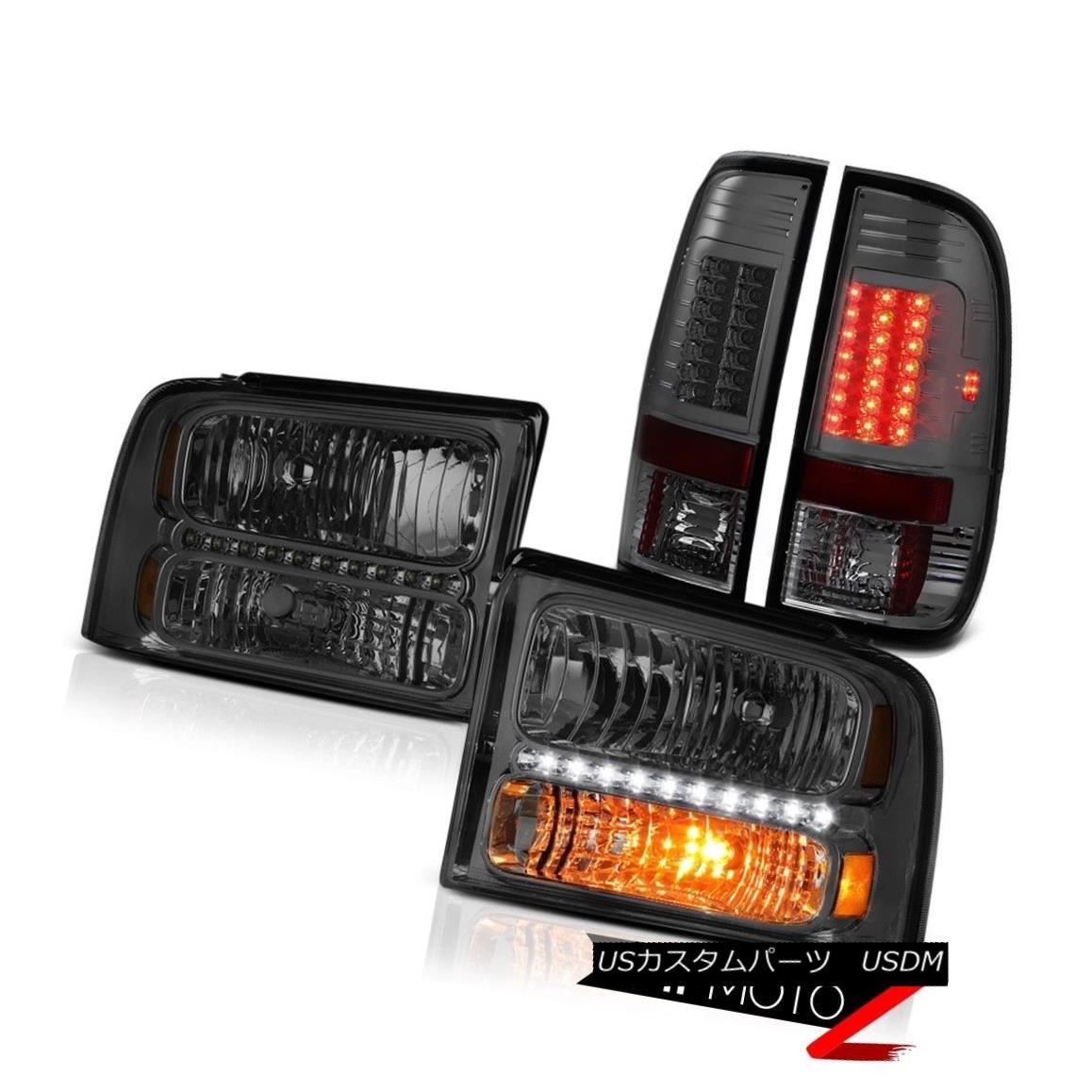 テールライト Front Crystal Clear Headlights Smoked LED Taillamps 2005 2006 2007 Ford F250 XLT フロントクリスタルクリアヘッドライトスモークLEDタイルランプ2005 2006 2007 Ford F250 XLT