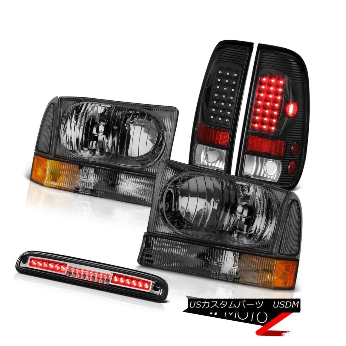 テールライト PAIR Smoke Headlights Black Tail Light Euro Third Brake LED 99-04 Ford SuperDuty PAIRスモークヘッドライトブラックテールライトユーロサードブレーキLED 99-04 Ford SuperDuty