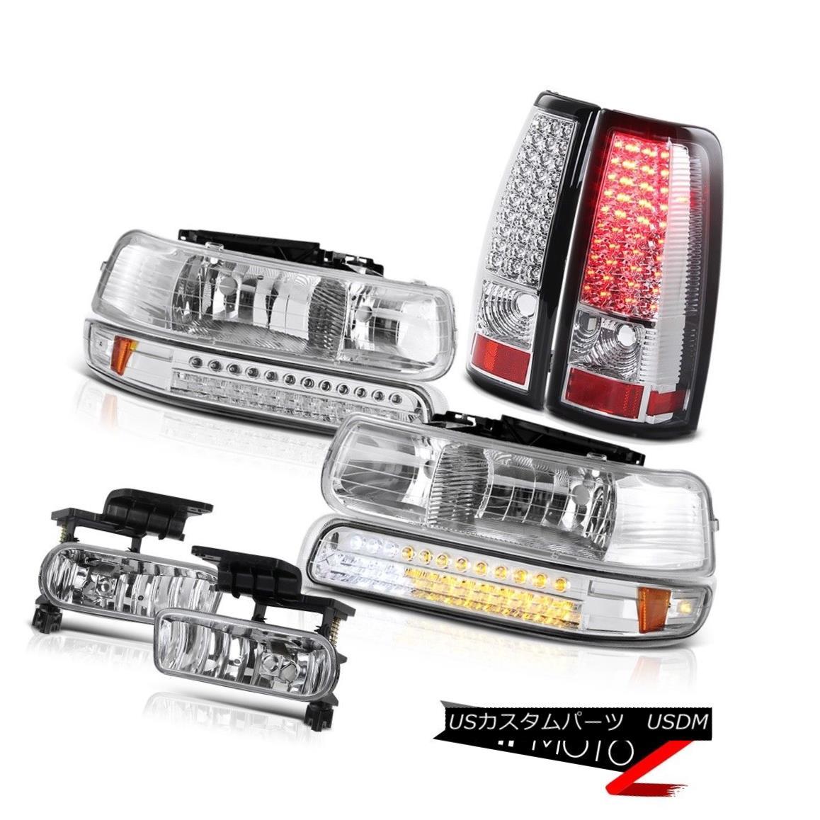 テールライト 1999 2000 Silverado Crystal LED Bumper Headlights Brake Taillights Driving Fog 1999 2000 SilveradoクリスタルLEDバンパーヘッドライトブレーキ尾灯ドライビングフォグ