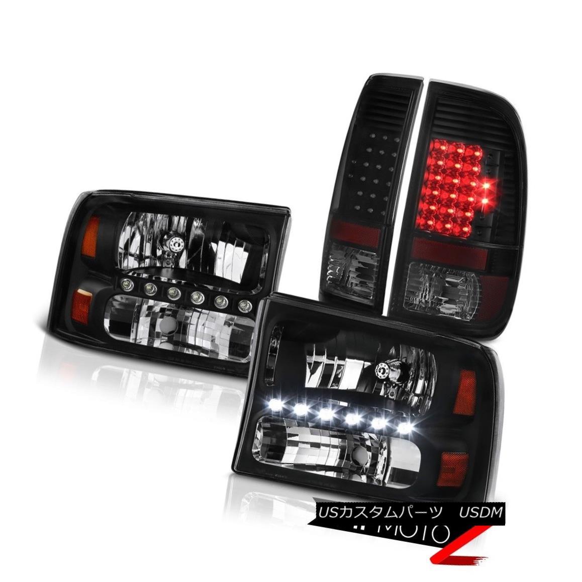 テールライト 1999-2004 Ford F250 F350 F450 SuperDuty Black LED Headlights Brake Tail Lights 1999-2004 Ford F250 F350 F450 SuperDutyブラックLEDヘッドライトブレーキテールライト
