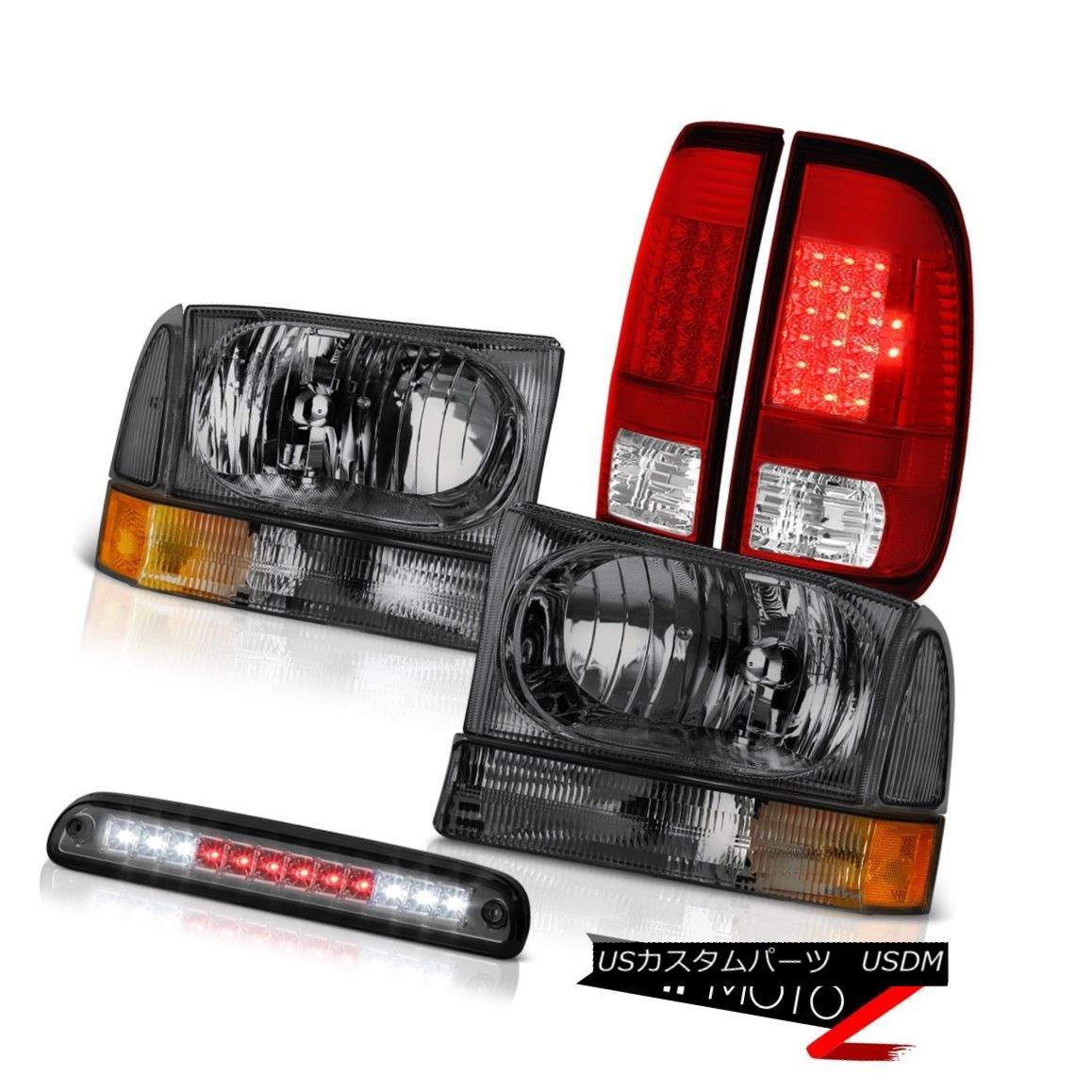 テールライト 99-04 F350 6.0L Crystal Headlights Rosso Red LED Tail Lights Roof Stop Tinted 99-04 F350 6.0LクリスタルヘッドライトロッソレッドLEDテールライトルーフストーンティント