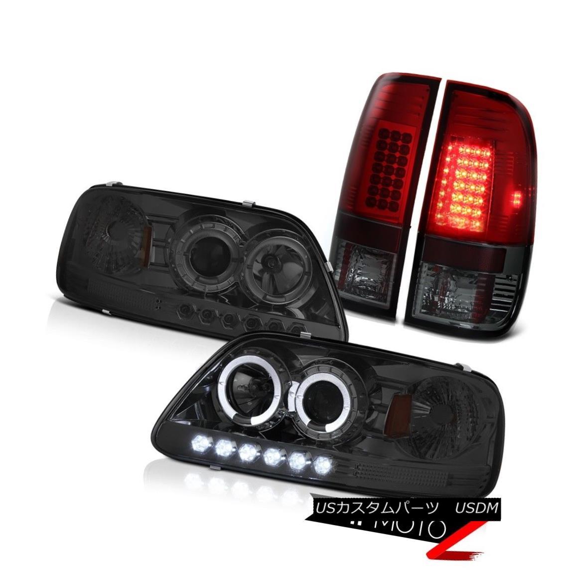 テールライト F150 King Ranch 97-03 LED Tinted Smoke Headlights Cherry Red Tail Light Lamp SET F150キングランチ97-03 LED淡色煙ヘッドライトチェリーレッドテールライトランプSET