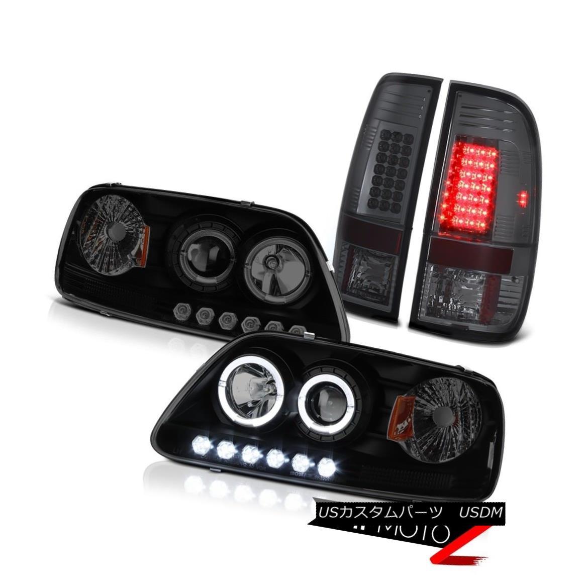 テールライト Ford F150 1997-2003 SMD DRL Headlamps Dark Black LED Brake Tail Lights Smoked フォードF150 1997-2003 SMD DRLヘッドランプダークブラックLEDブレーキテールライトスモーク