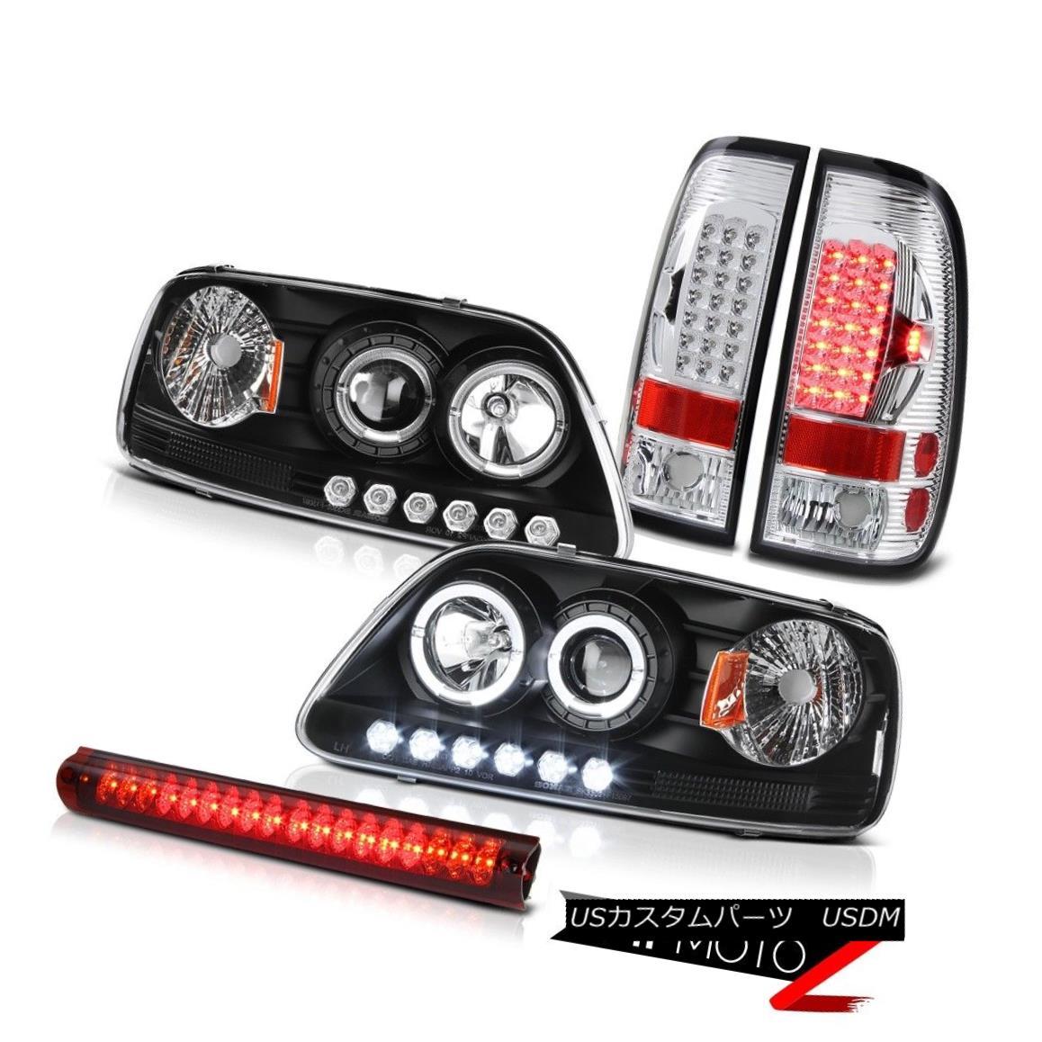 テールライト 1999 2000 2001 F150 Projector Black Headlight SMD Tail Light Brake Lamp Red LED 1999 2000 2001 F150プロジェクターブラックヘッドライトSMDテールライトブレーキランプレッドLED