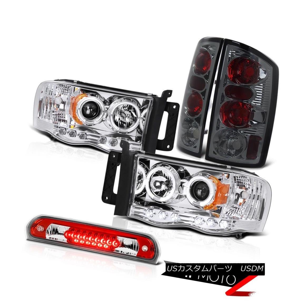 テールライト Halo Rim Headlights Smoke Taillights Roof Brake LED Red 02-05 Ram TurboDiesel ハローリムヘッドライトスモークテールライトルーフブレーキLEDレッド02-05ラムターボディーゼル