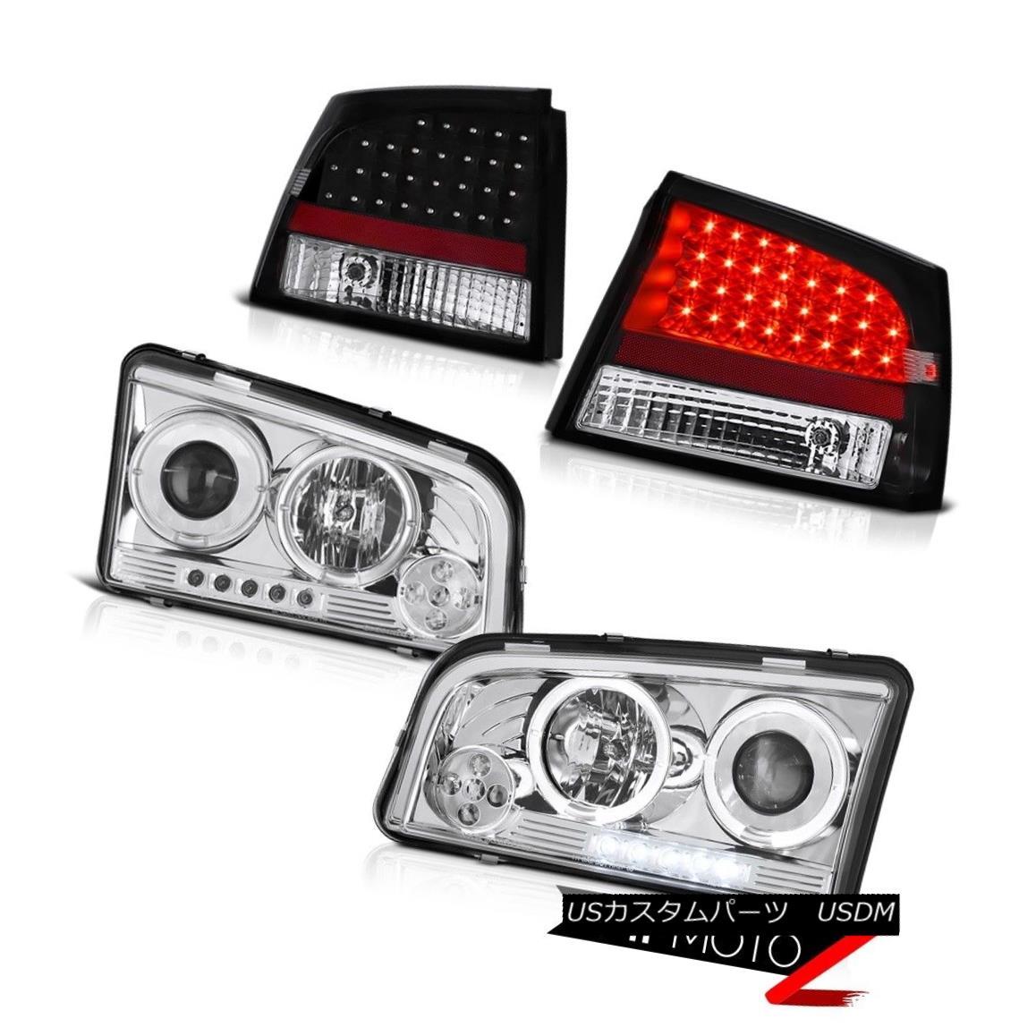 テールライト 06 07 08 Charger SRT8 SE Angel Eye DRL Halo Headlights SMD Brake LED Tail Lights 06 07 08充電器SRT8 SEエンジェルアイDRLハローヘッドライトSMDブレーキLEDテールライト