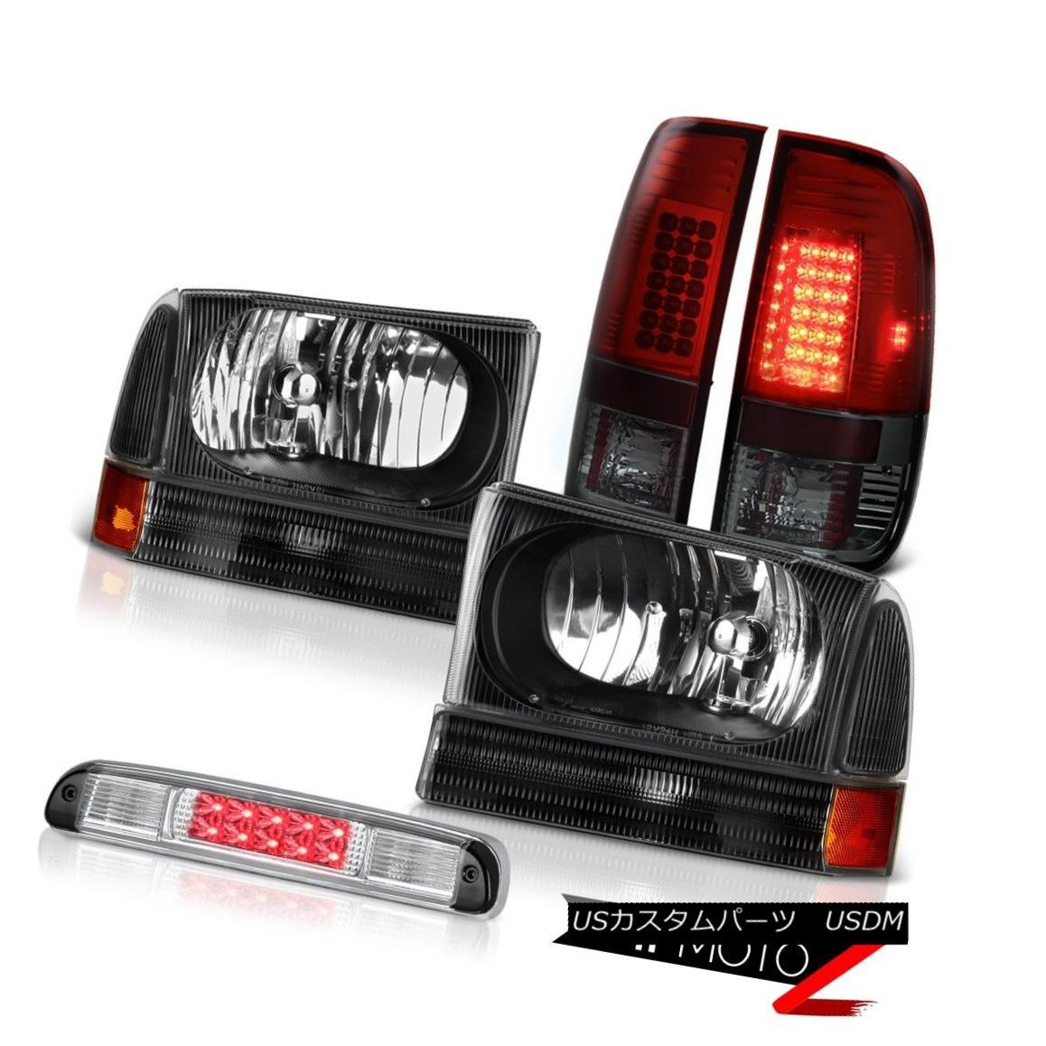 テールライト Left Right Headlamps Red Smoke LED Tail Lights High Brake Cargo 99-04 F350 7.3L 左ライトヘッドランプ赤煙LEDテールライトハイブレーキ貨物99-04 F350 7.3L
