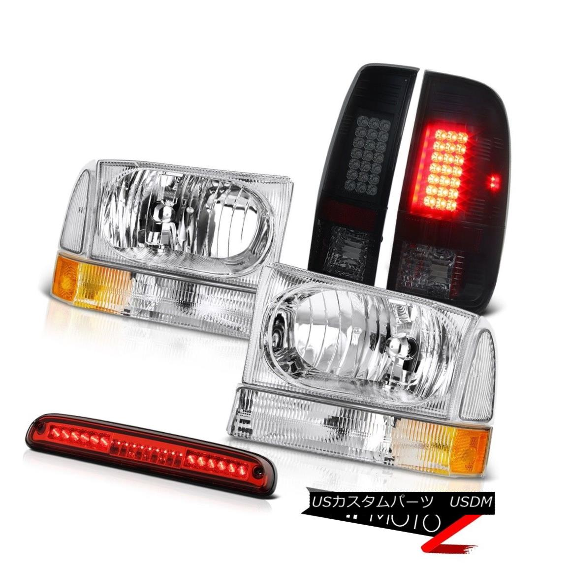 テールライト Euro Headlight Smoke LED TailLight Lamps 3rd Brake Red 1999-2004 F350 King Ranch ユーロヘッドライト煙LEDテールライトランプ第3ブレーキ赤1999-2004 F350キングランチ