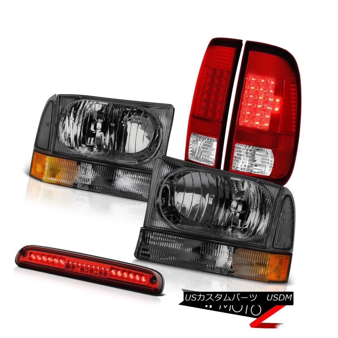 テールライト 1999-2004 F350 6.0L Dark Smoke Headlamps LH+RH LED Brake Lights High Stop Red 1999-2004 F350 6.0LダークスモークヘッドランプLH + RH LEDブレーキライトハイストップレッド