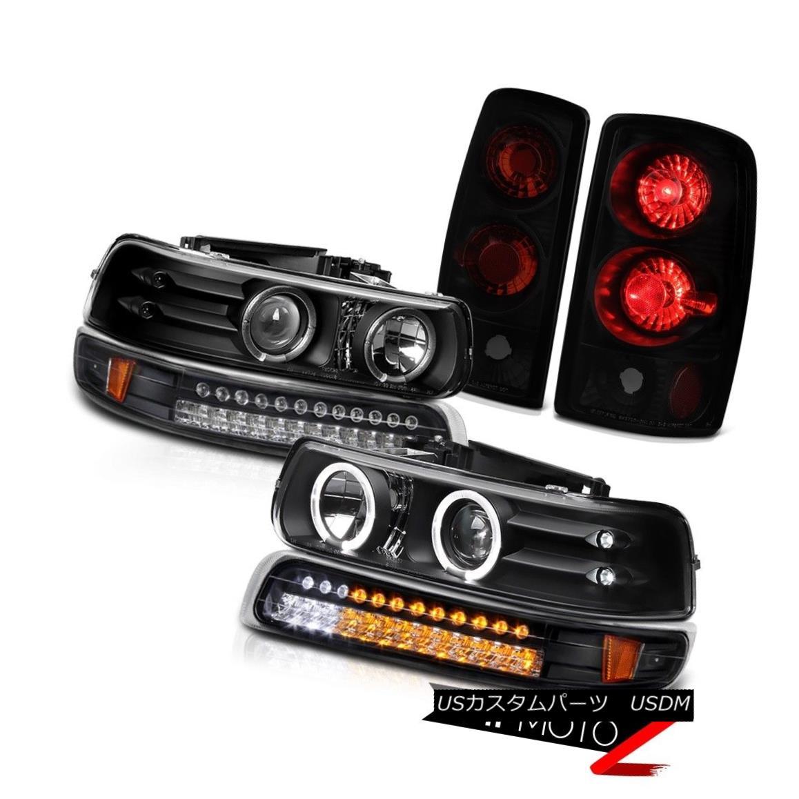 テールライト Projector Headlights LED Bumper Sinister Black Rear Tail Light 00-06 Chevy Tahoe プロジェクターヘッドライトLEDバンパーシニスターブラックリアテールライト00-06 Chevy Tahoe
