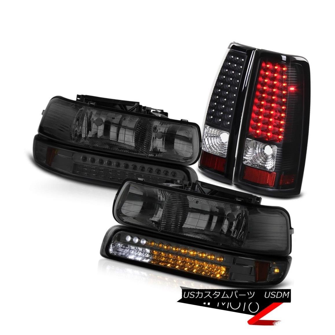テールライト 99-02 Chevy Silverado LT PAIR Smoke Headlights LED Bumper Black Brake Tail Light 99-02 Chevy Silverado LT PAIRスモークヘッドライトLEDバンパーブラックブレーキテールライト