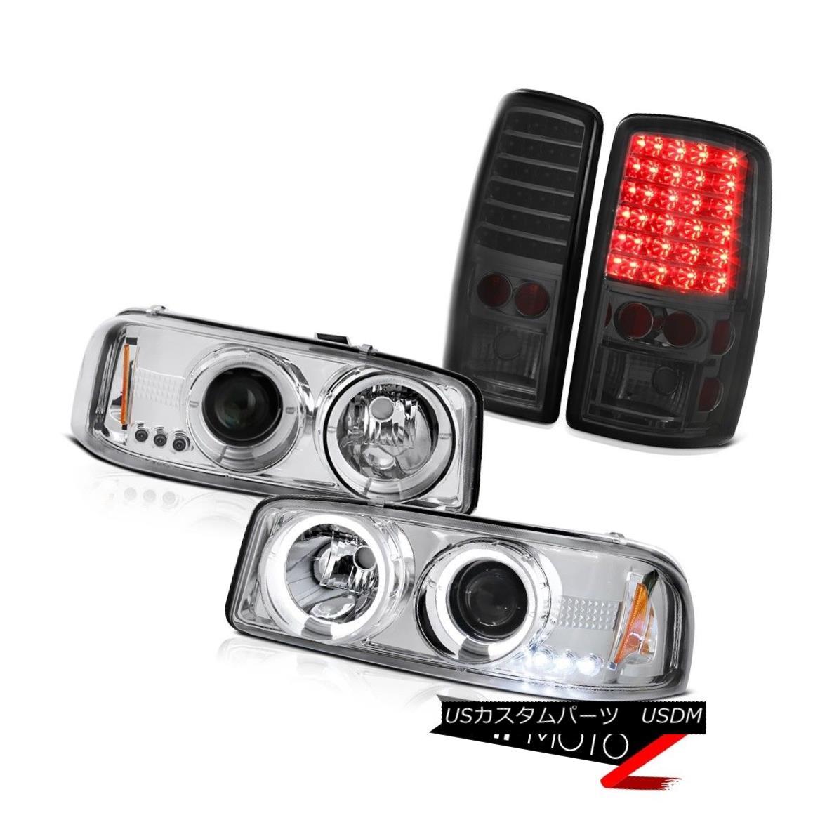 テールライト 2000-2006 Yukon XL Denali Halo Headlights Headlamp Smoke Tail Lights LED Tinted 2000-2006 Yukon XL Denali Haloヘッドライトヘッドライト煙テールライトLED Tinted