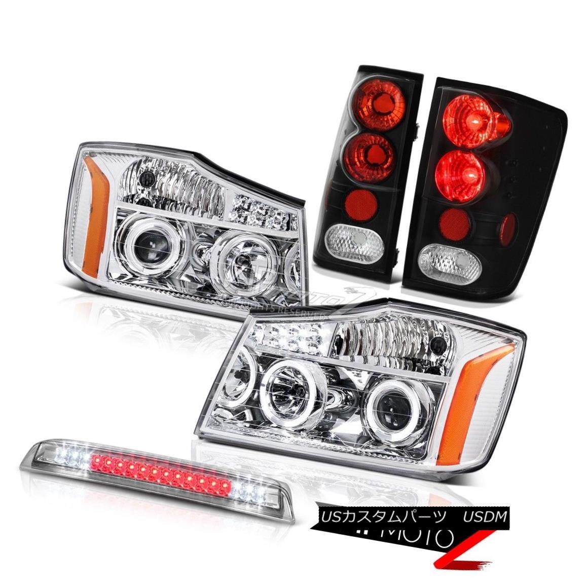 テールライト Clear Angel Eye Headlights Rear Brake Lights Third Cargo LED For 2004-2015 Titan クリアエンジェルアイヘッドライトリアブレーキライト2004年?2015年タイタンの3番目の貨物LED