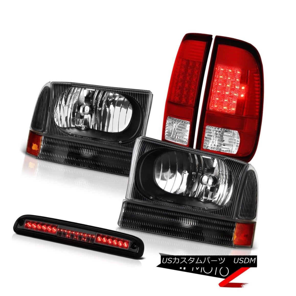 テールライト 99-04 Ford SuperDuty Matte Black Headlights Red Tail Lights High Stop LED Smoke 99-04 Ford SuperDutyマットブラックヘッドライトレッドテールライトハイストップLEDスモーク