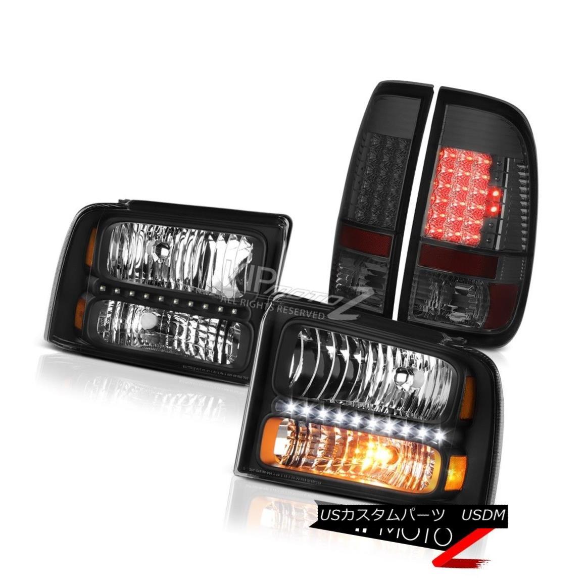 テールライト Black Headlights Dark LED Brake Tail Lights 2005 2006 2007 F250 Harley Davidson ブラックヘッドライトダークLEDブレーキテールライト2005 2006 2007 F250 Harley Davidson