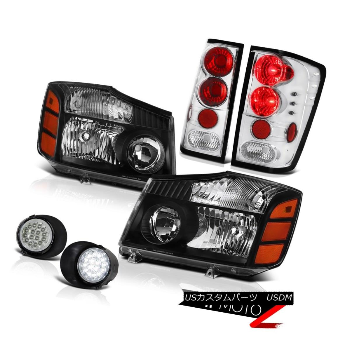 テールライト For 2004-2015 Titan Pro-4X Black Headlamps Tail Light Headlight Rear Light Fog 2004年?2015年Titan Pro-4Xブラックヘッドランプテールライトヘッドライトリアライトフォグ