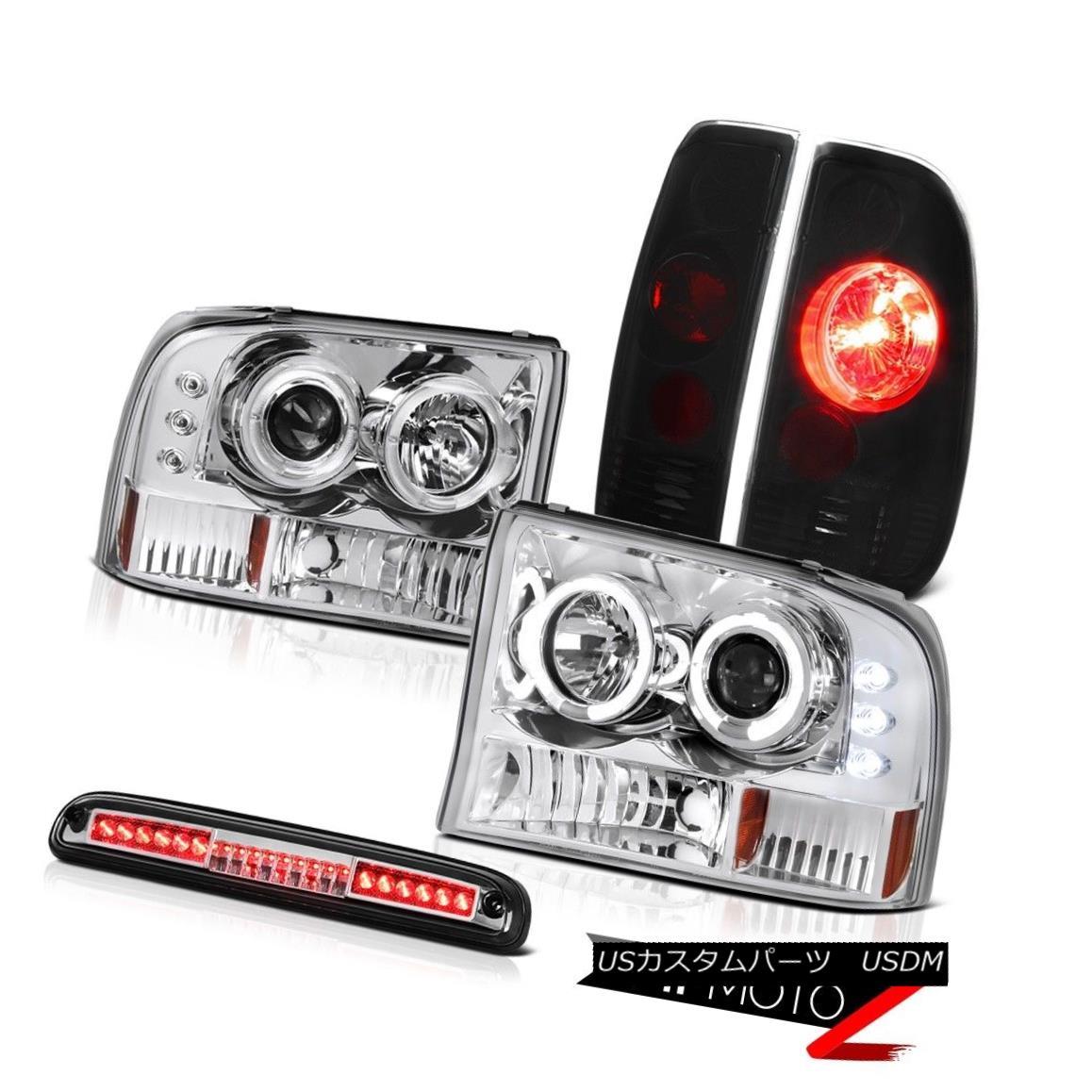 テールライト LED Angel Eye Headlights Smoke+Black Tail Light High Chrome 1999-2004 F350 6.8L LEDエンジェルアイヘッドライトスモーク+ブラックテールライトハイクローム1999-2004 F350 6.8L